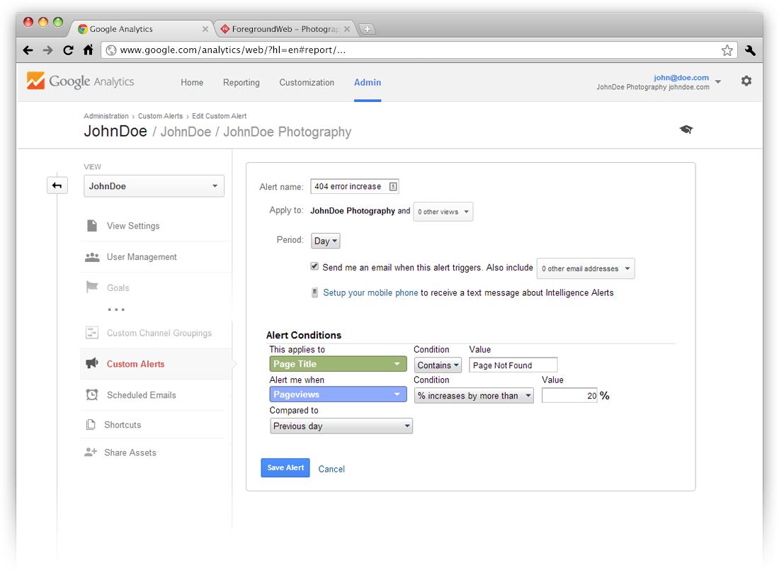Google Analytics admin custom alert for 404 error pages