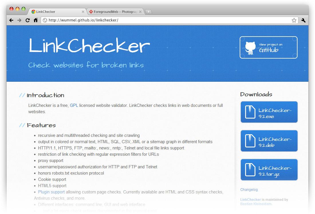 LinkChecker Website screenshot in browser