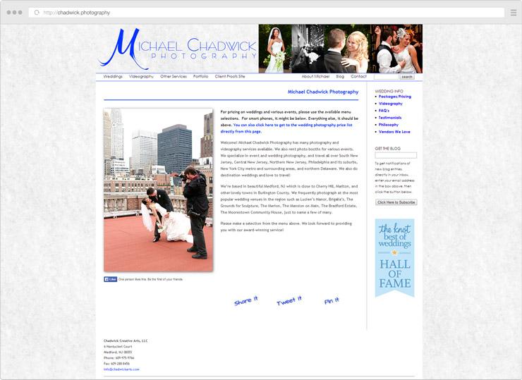 Michael Chadwick Photography site screenshot
