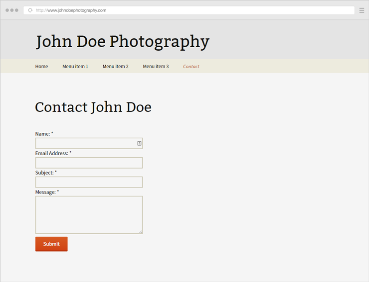 Example of a fictive bad photography Contact page example