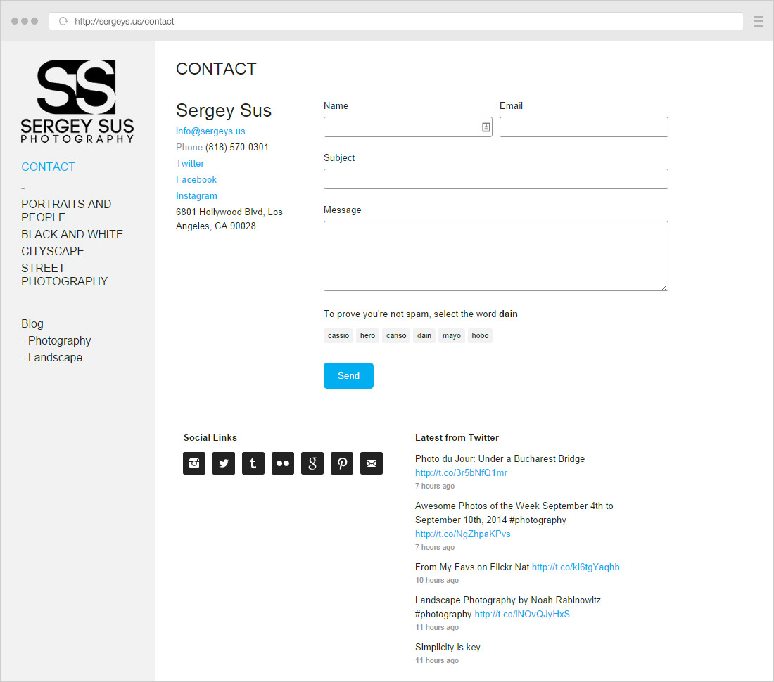 Sergey Sus contact page