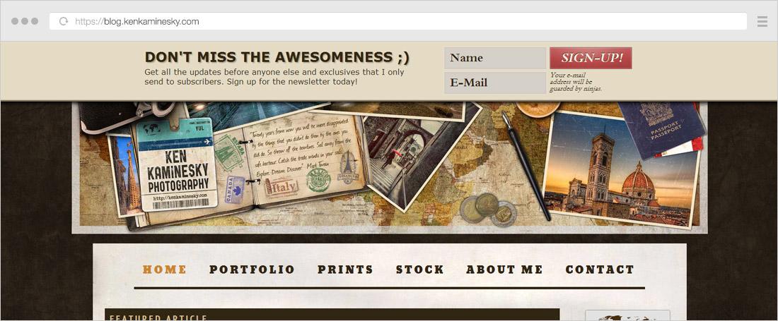 Ken Kaminesky website showing a newsletter optin bar at the top