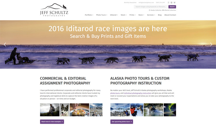 Jeff Schultz Photography webssite homepage preview