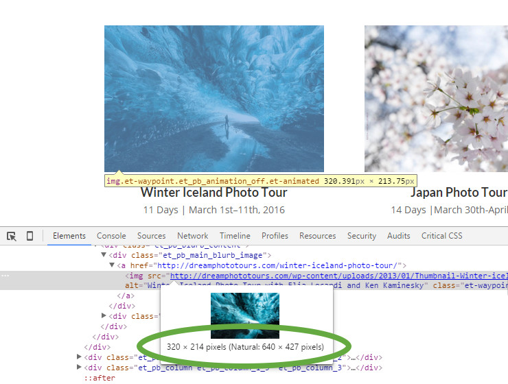 Retina image example in Chrome's Inspect element tool
