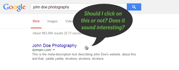 Click-through-rates: users deciding whether to click on a Google search result based on the SEO tags