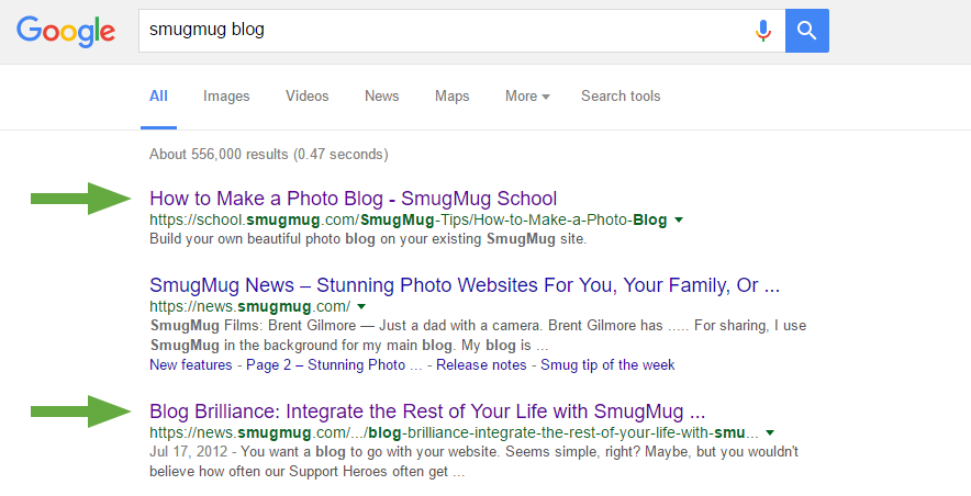 smugmug blog google search preview