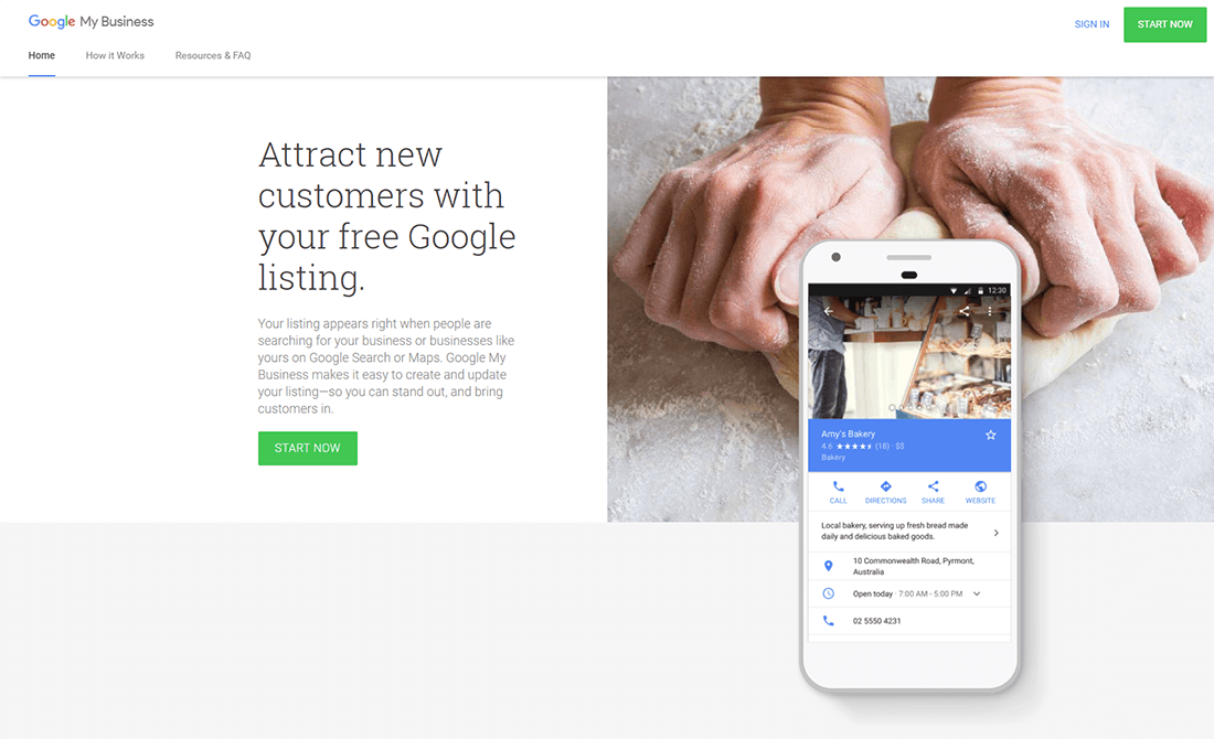 Google My Business homepage preview
