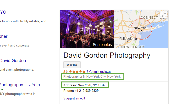 Google My Business listing photographer simple address example
