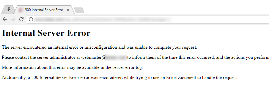 Website error example: internal server error
