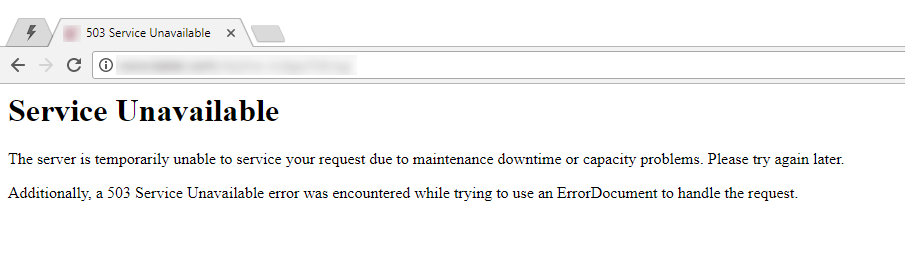 Website error example: 503 service unavailable
