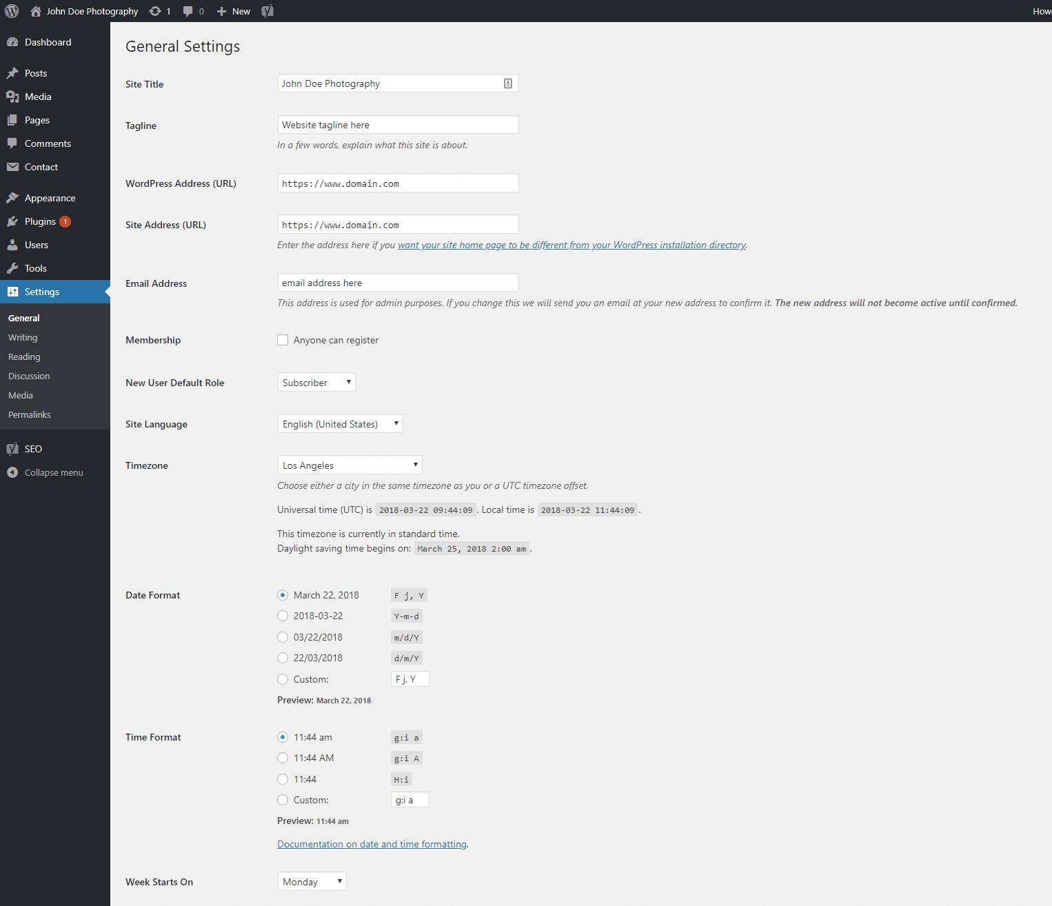 WordPress general settings preview