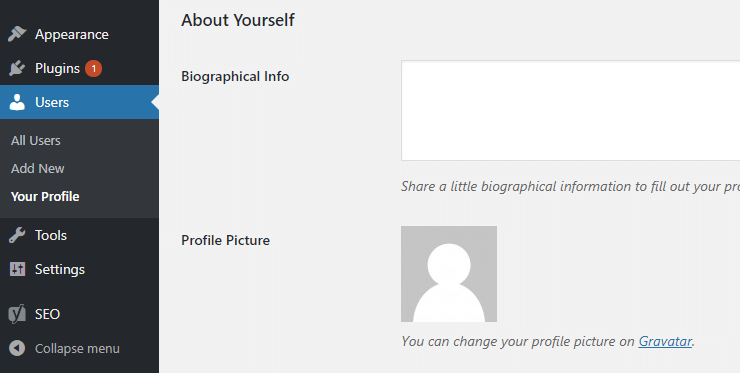 """WordPress Users > """"Your profile"""" page > Biographic info and Profile picture options"""