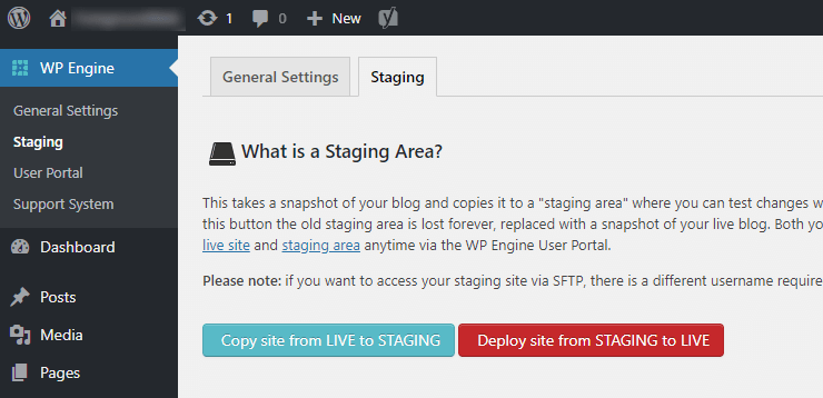 WP Engine WordPress staging area buttons in admin area