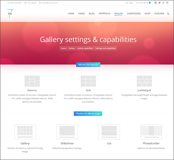 Types of gallery and slideshow layouts available in The7 WordPress theme