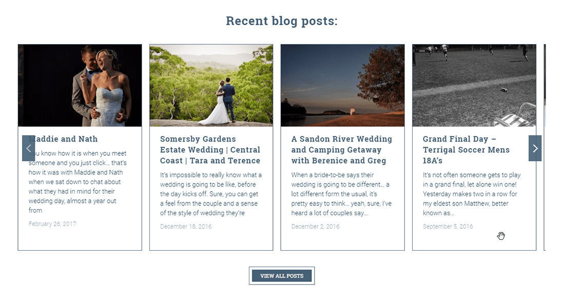 Showing a horizontal scroller of recent blog posts using The7 WP theme