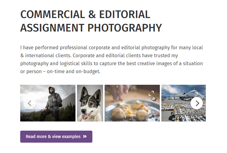 """Example of photography website using """"photo scroller"""" element in The7 WP theme to show small thumbs"""