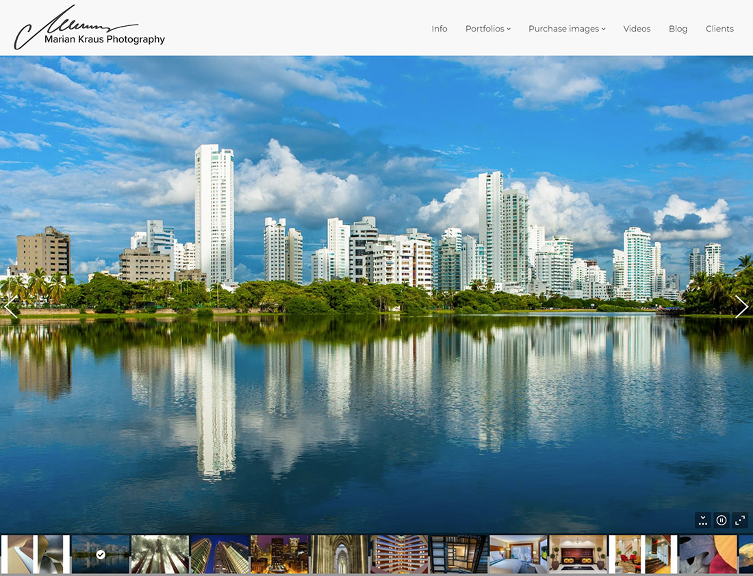 Photography homepage using slider from The7 WordPress theme