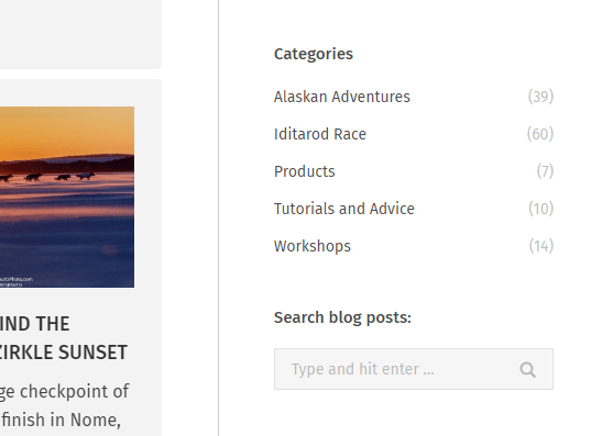 photo website blog sidebar - list of categories and search box
