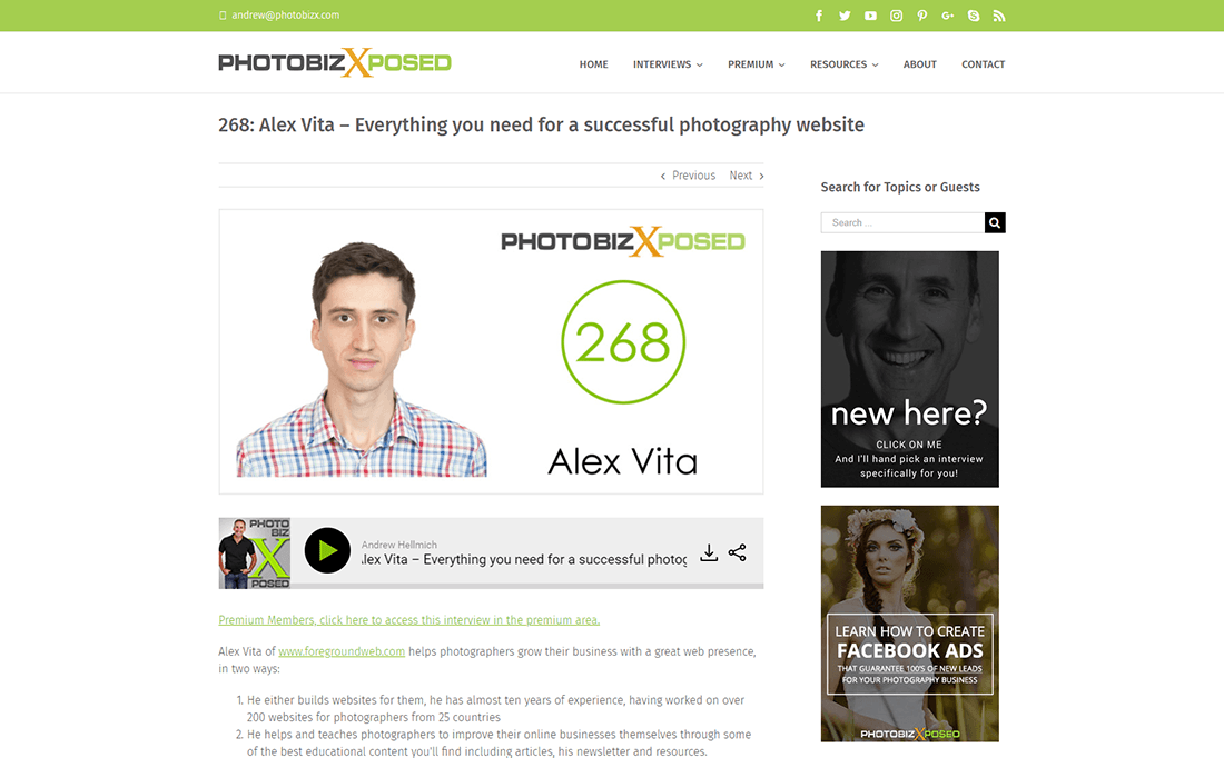PhotoBizX podcast interview with Alex Vita about building a great photography website - preview