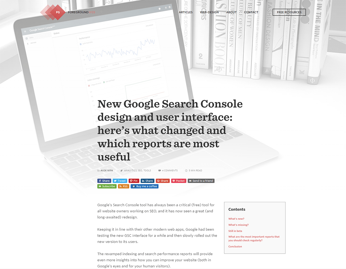 Preview of the article on Google Search Console's new interface
