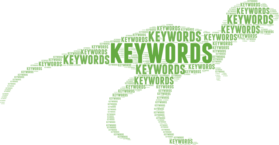 """Dinosaur graphic made up of a """"keywords"""" tag cloud"""