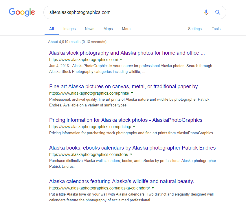 Example of Google showing unique SEO titles and meta-descriptions for a stock photography site
