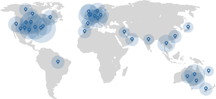 ForegroundWeb client countries map
