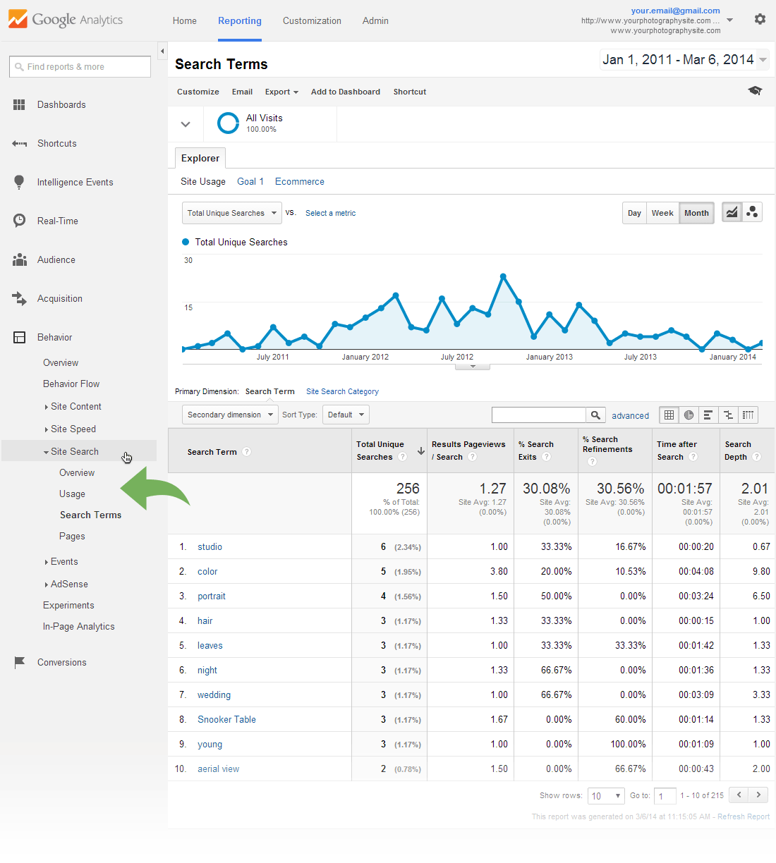 Google Analytics Site Search report - Search Terms