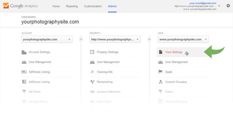 Google Analytics Admin page - View settingsGoogle Analytics Admin page - View settings