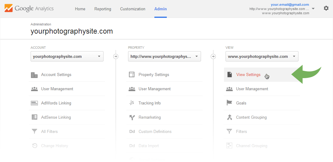 Google Analytics Admin page - View settingsGoogle Analytics Admin page - View settings
