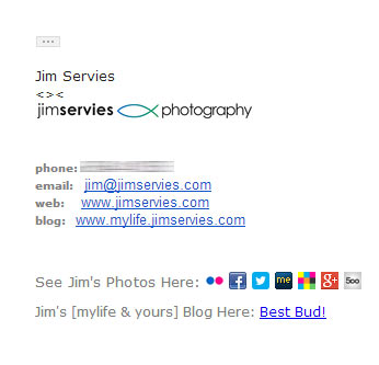 Photography Email Signature example - Logo, social media links, website address, colorful