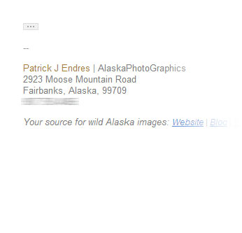 Photography Email Signature example - Promoting site resources
