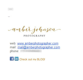 Photographer email signature - Logo, correct separator, social media buttons
