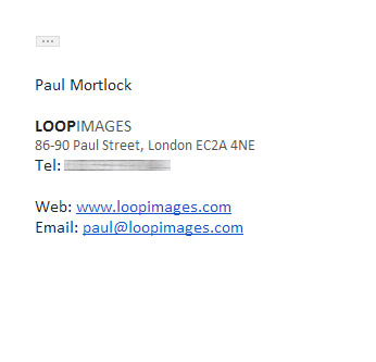 Photography email signature example - Text-based logo