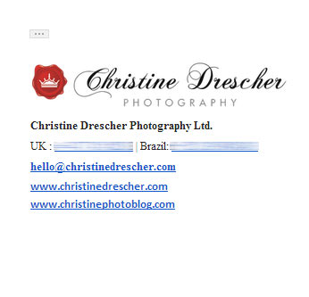 Photography email signature example - Nice logo & links