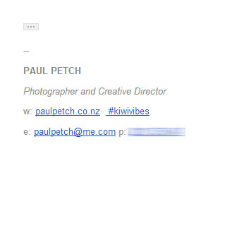 Photography email signature example - well spaced out, just the essentials