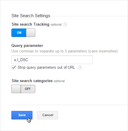 Google Analytics site search options