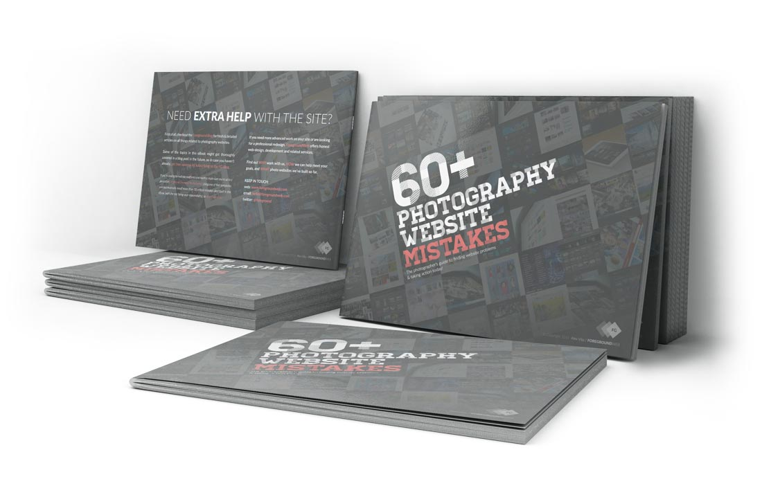60+ Photography Website Mistakes eBook preview front and back covers