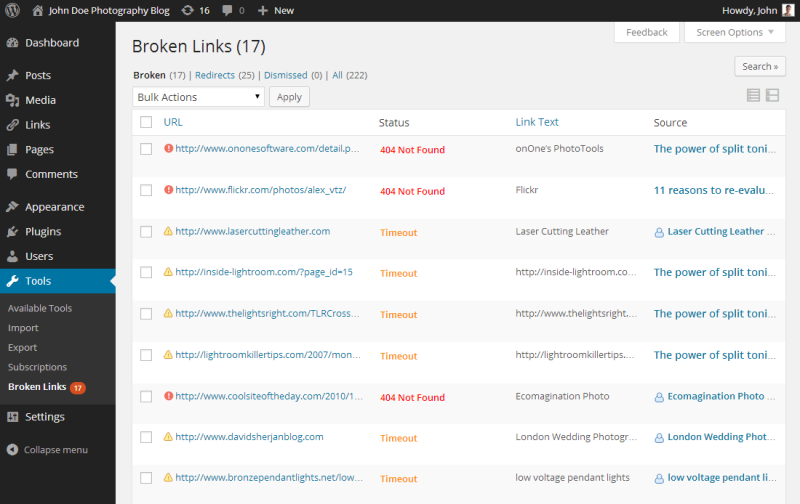 Broken Links Checker WP plugin preview