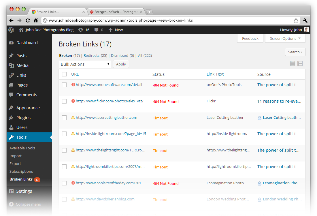 Broken Links Checker WP plugin preview in browser