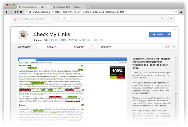Check My Links Chrome extension screenshot in browser