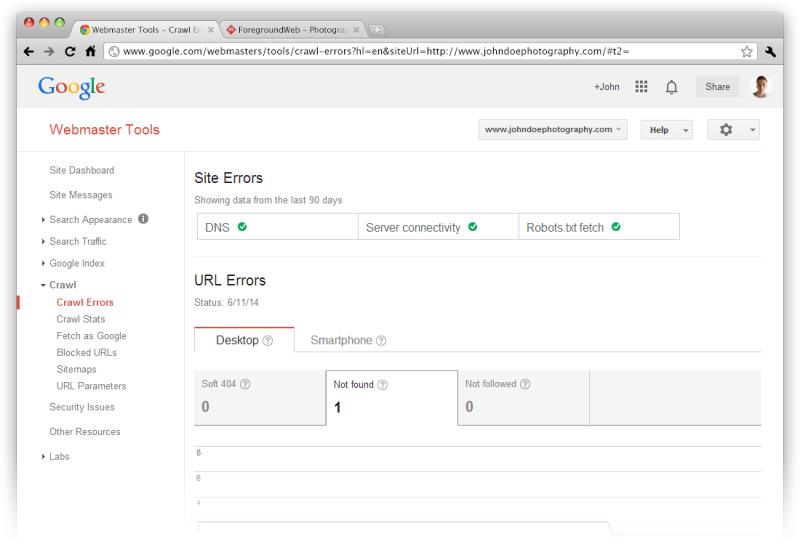 Google Webmaster Tools Crawl Errors screenshot in browser