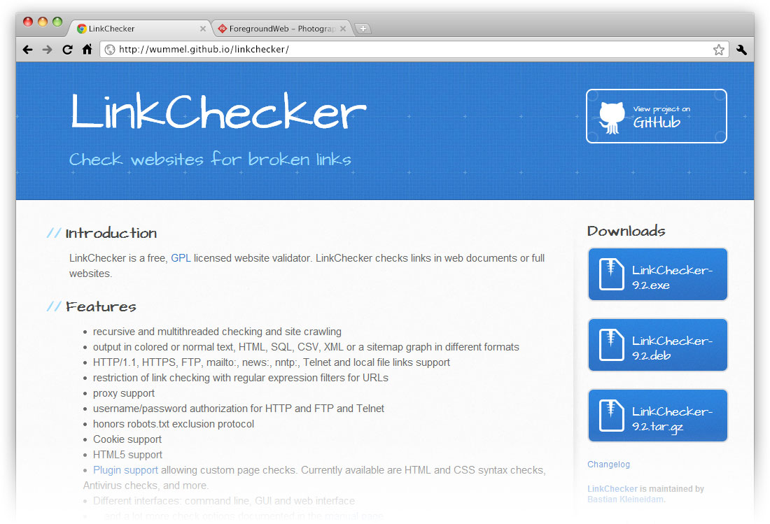 LinkChecker Website screenshot in browser