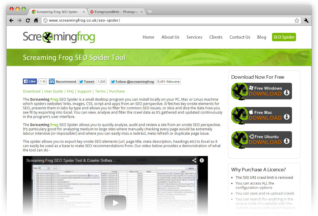 Screaming Frog SEO Spider Tool website screenshot in browser