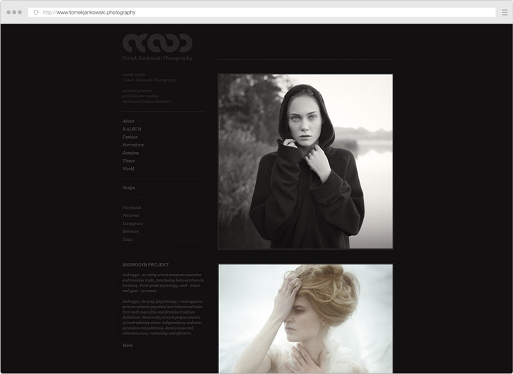 Tomek Jankowski Photography site screenshot