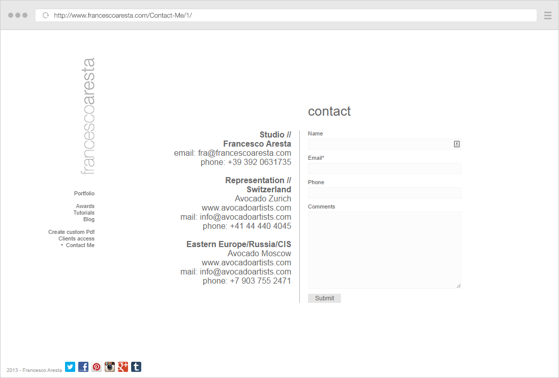 Francesco Aresta contact page