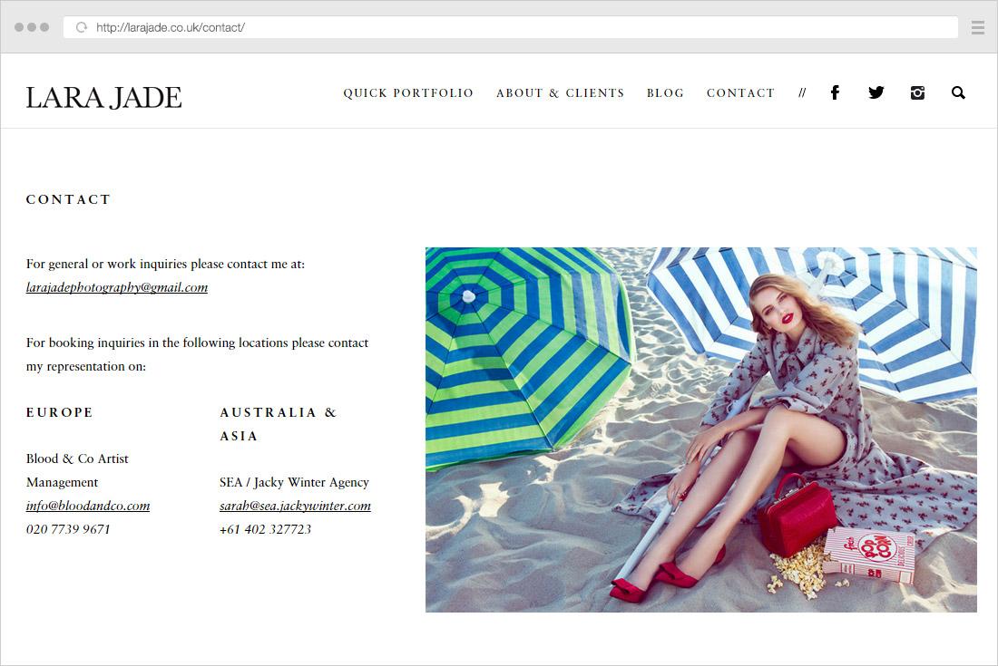 Lara Jade contact page