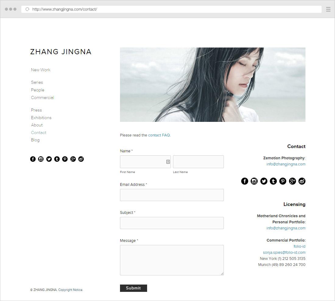 Zhang Jingna contact page