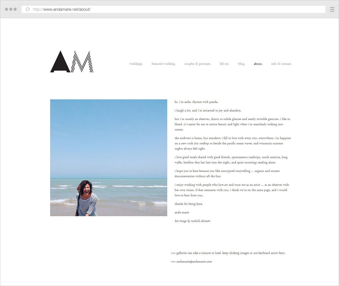 Minimalist photographer bio page