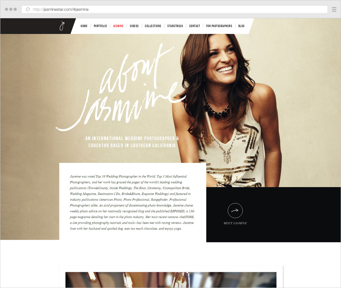 Photography page description sample: great bio design with signature and story